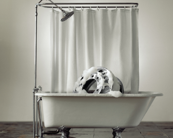 Image of wheel in bathtub